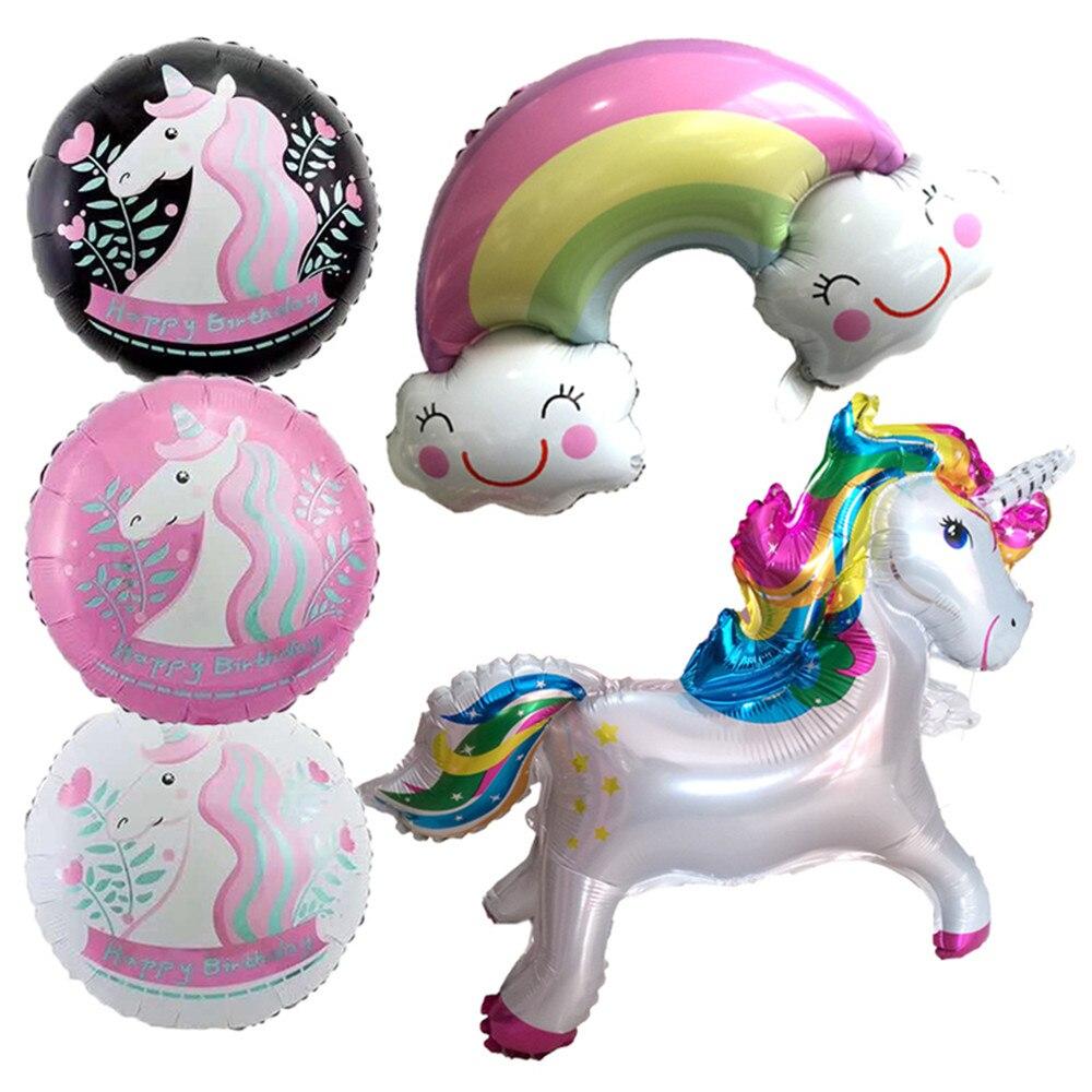 Sombrero de dibujos animados unicornio fiesta decoraciones suministros 3D unicornio caminar Animal globos de lámina de cumpleaños para niñas Decoración Para temática de fiesta