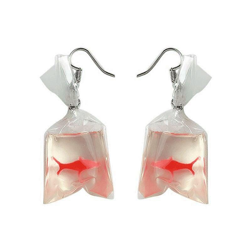FishSheep encantador acrílico Koi peces bolsa de agua pendientes colgantes lindos plástico transparente peces pendientes joyería regalos