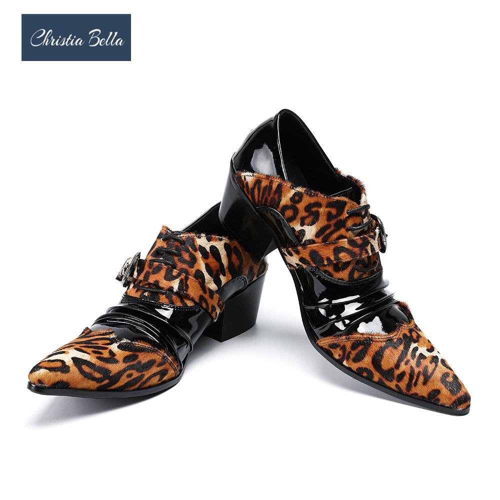 كريستا بيلا-أحذية بطبعة جلد الفهد للرجال ، أحذية أكسفورد الجلدية غير الرسمية للرجال ، مقدمة مدببة