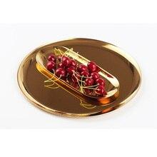 20pcs/lot wholesale plateau marble tray metal tepsi Golden round plate Jewelry storage tray Danish plateau en bois simple home