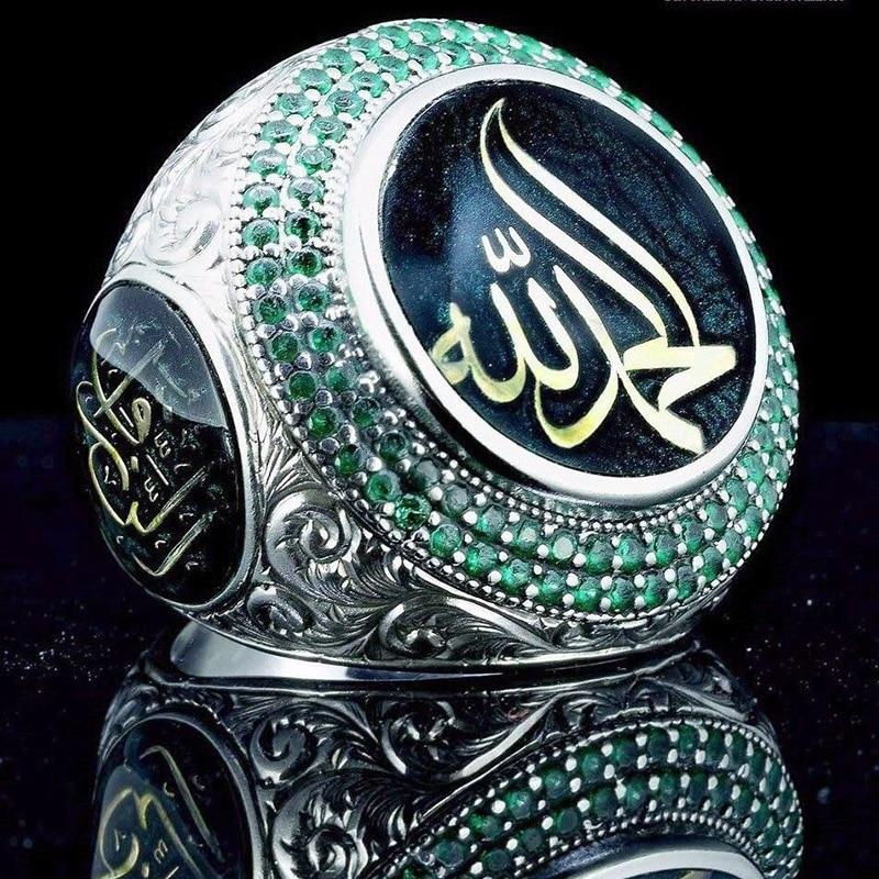 Campeonato Anel Punk Do Profeta Muhammad Islam Arábia Estrela do vintage Declaração Anéis para Homens Boho Jóias Muçulmano Turco Otomano