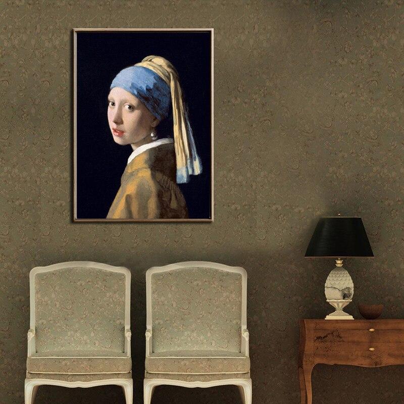 Cartel de pintura al óleo de chica con un pendiente de perla de los Países Bajos, arte de pared, lienzo, imagen de sala de estar, decoración del hogar sin marco
