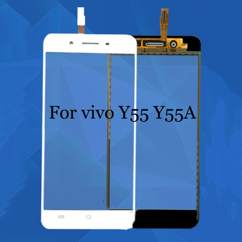 Lente de Cristal frontal blanco negro + digitalizador de pantalla táctil para vivo Y55 Y55A reemplazo para teléfono LCD pantalla Flex cable caso