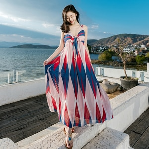 Beach dress bandage Beach Women's Chiffon Dress Bohemia Beach Holiday Long Maxi Casual Boho Geometric Pattern V Neck Dress