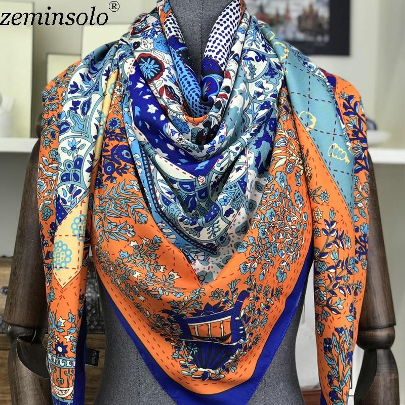 Фото - Элитный бренд Весенняя рубашка с принтом 100% Шелковый шарфы для женщин бандана большой площади Шелковый шарф шаль платок 130x130cm шелковый шарф шаль женщин лето солнце