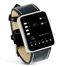Splendide nouvelle montre de mode numérique rouge LED Sport montre-bracelet binaire en cuir PU femmes hommes horloge Relogio Feminino