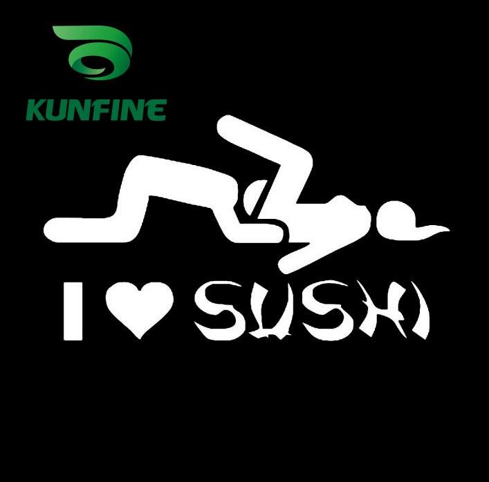 Pegatina de estilo KUNFINE para coche, pegatina de vinilo I LOVE SUSHI para coche, pegatina decorativa, pegatina Diy para coche, piezas de afinación