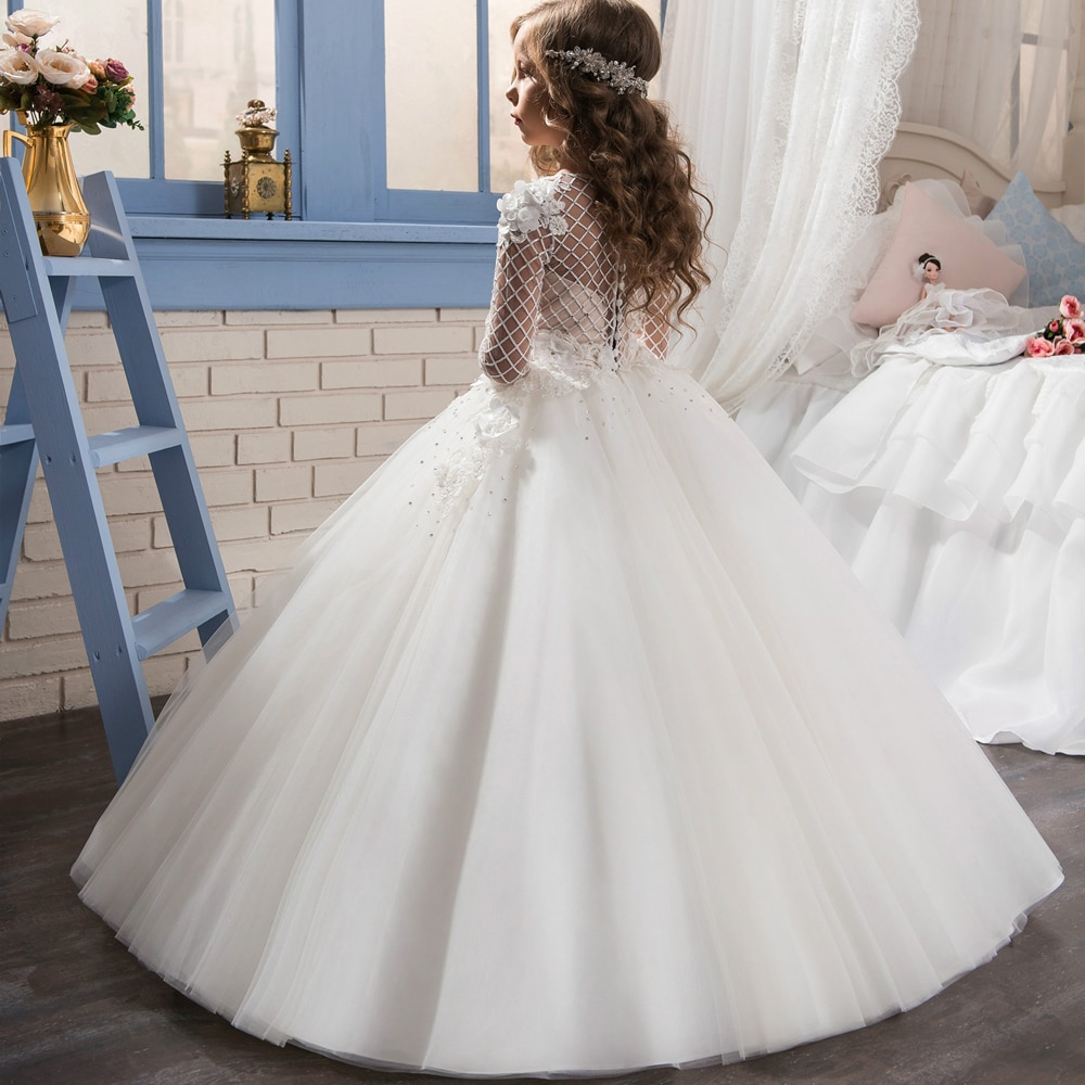 First Communion Dresses for Girls Long Sleeves Solid O-Neck Lace Ball Gown Flower Girl Dresses for Weddings Birthday Vestidos enlarge