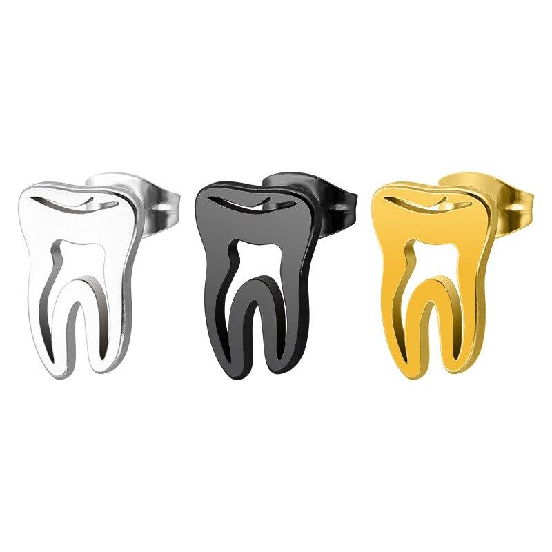 DoreenBeads, pendiente de acero de titanio a la moda, Color negro dorado, diente conciso, regalo para hombres, accesorios de moda, 1 pieza 2018