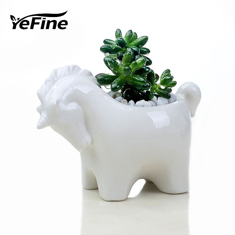Unicórnio YeFine Criativo Personalidade Vaso de Flores Jardim Bonsai Vasos Suculentas Vaso de Cerâmica Sala de estar Decoração de Mesa De Escritório
