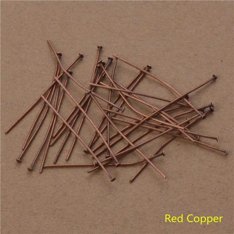 200 Uds 40 50mm cabeza plana Pins oro/plata/rojo bronce/pistola cabeza negra Pins para la fabricación de joyas