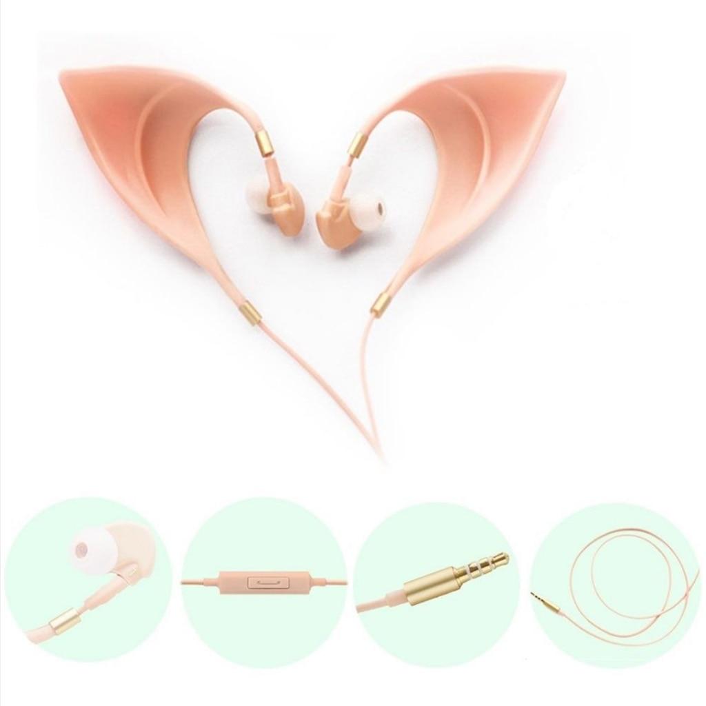 Elf Auriculares auriculares-auriculares manos libres auriculares con micrófono para Huawei Xiaomi Samsung orejas de elfo para niños regalos de vacaciones