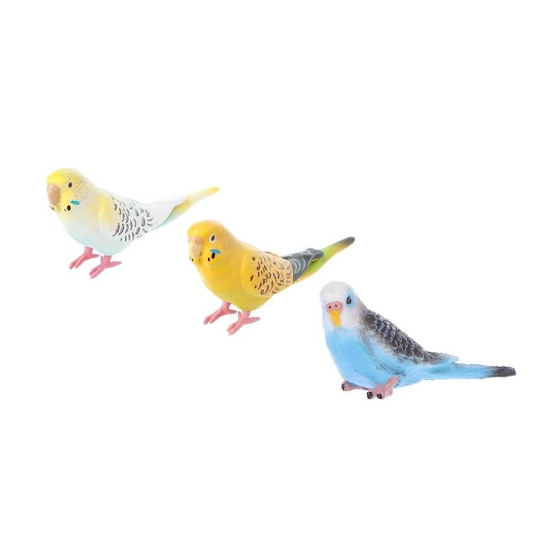 El HBB 1PC lindo pequeño loro pájaro modelo de simulación de la casa Oficina escritorio decoración adornos PVC niños de acción figuras de juguete recoger los regalos