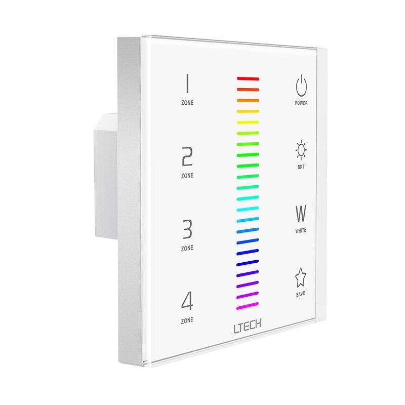 Nuevo controlador de tira Led RGBW 220V 2,4 GHz RF inalámbrico y DMX multi función de vidrio muro táctil Panel Led tira regulador RGBW