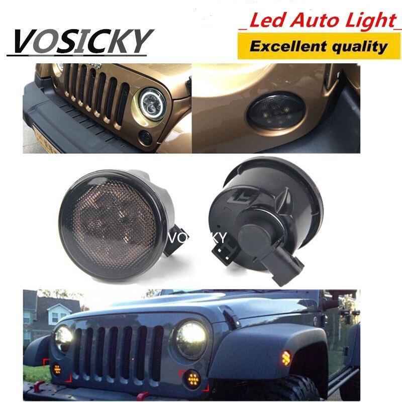 1 Par Grill Turn Signal Luz Para Jeep Wrangler JK 07-15 Kit Frente Turn Signal 8 LED Fender Recon Fumado Luz Âmbar lâmpada