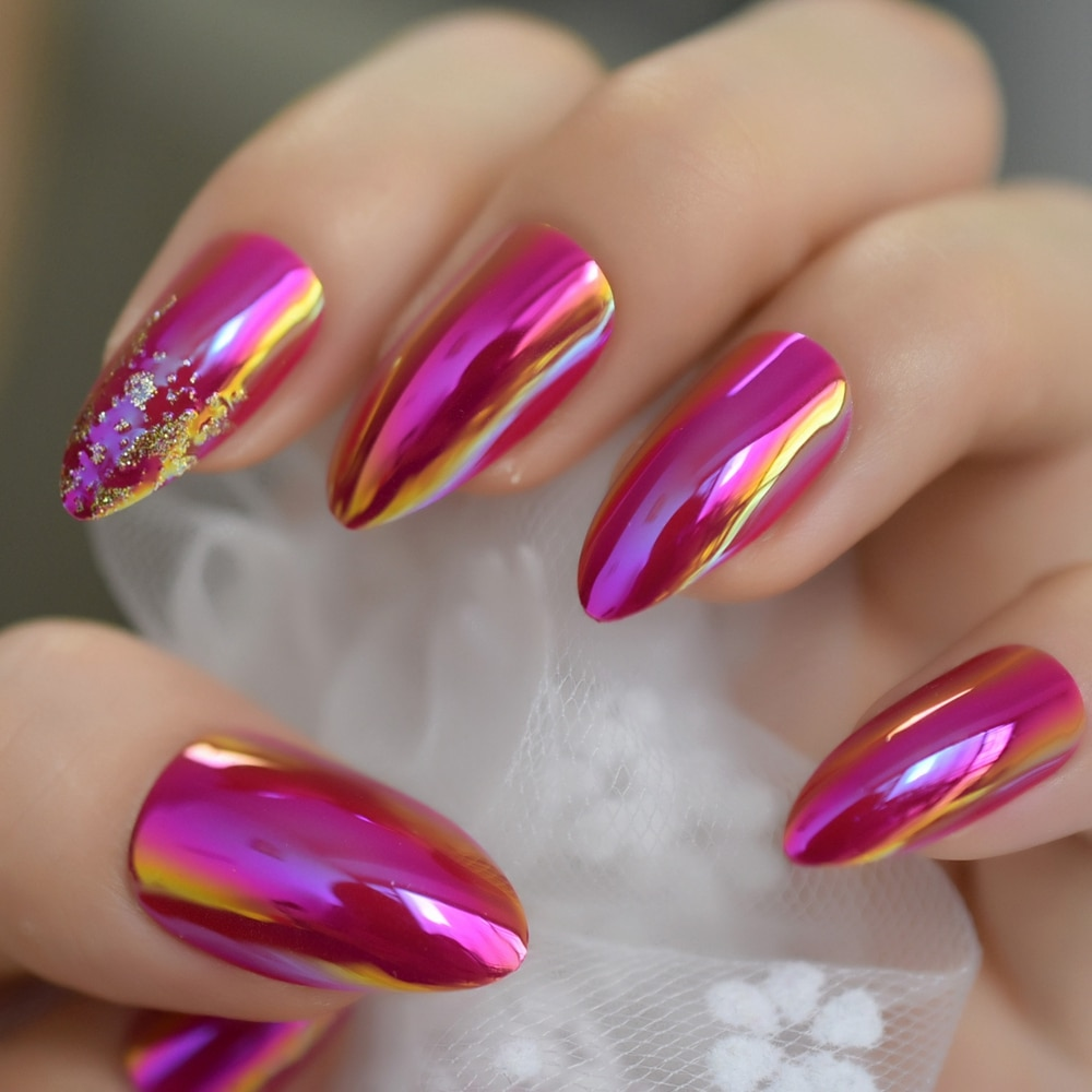 Holographic Nail Art Metallic Mirror Hot Pink French Stilettos Nail Metal Oval Stiletto Sharp Fake Nails Free Adhesive Tape