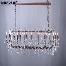 Vintage fer lustre éclairage rétro rustique Suspension lampe Style américain cristal Suspension lampe pour Foyer salon