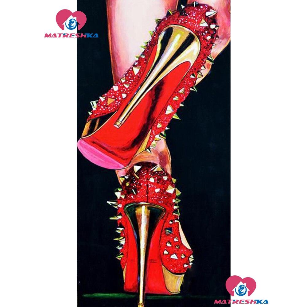 5D,Full,DIY Diamond Embroidery,Red high heel icon full square,Diamond Painting,Cross Stitch,Mosaic,rhinestone paste Needlework
