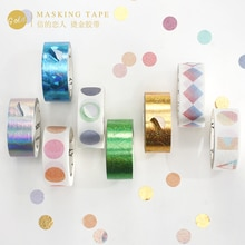 Cinta adhesiva láser de cinta de Washi para diario de bala dorada serie desgastada geometría DIY etiqueta adhesiva para álbum de recortes cinta adhesiva artesanal