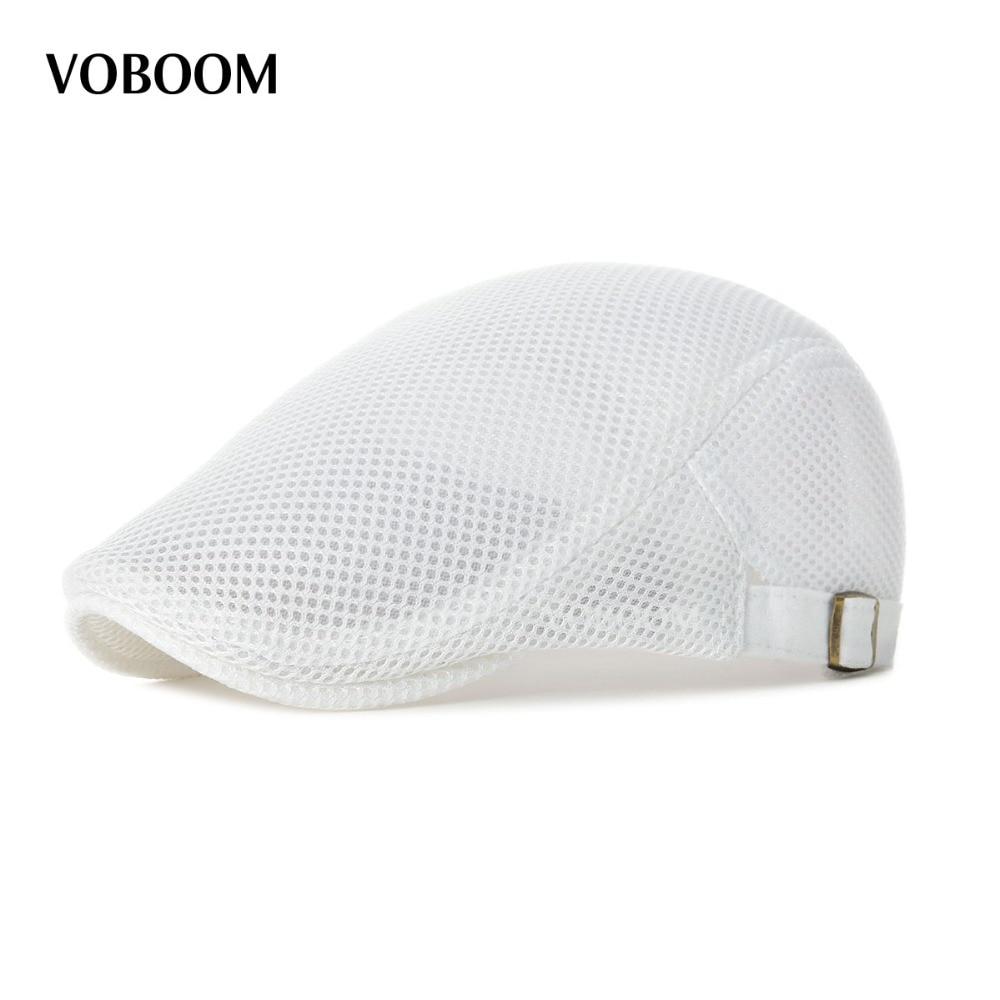 Summer Men Women White Casual Beret Hat Ivy Flat Cap Cabbie Newsboy Style Gatsby Hat Adjustable Breathable Boina Mesh Caps 124