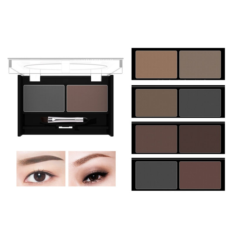 1set Top quality makeup Eyebrow powder waterproof  Eyebrow powder  4 Colors Eye Shadow Eye Brow Palette + Brush Eyebrow Enhancer