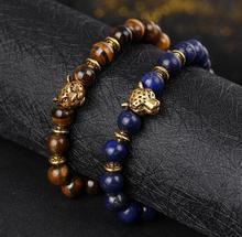 Gratis Verzending Natuurlijke Agateazurite Tiger Eye Stone Hand Kralensnoer Leeuwen, Luipaarden Hoofd Stretch Armband Sieren Artikel