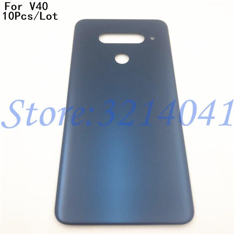 10 unids/lote buena calidad 6,2 pulgadas para LG V40 V40 ThinQ carcasa trasera para batería Panel de puerta trasera funda carcasa de vidrio + pegatina adhesiva