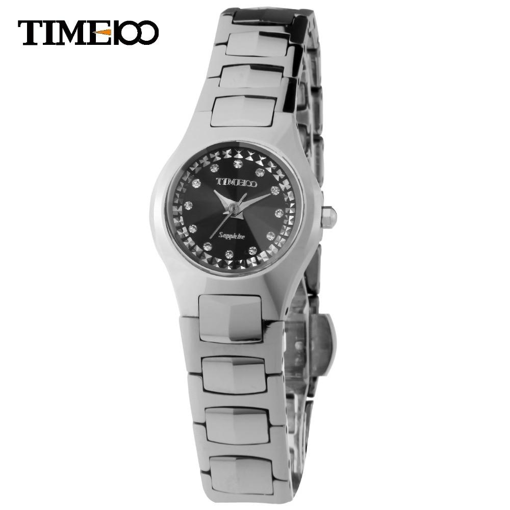 New Hot Fashion TIME100 Lady's Analog Display WaterResistant Full Steel Wristwatch Tungsten steel Strap Women Quartz Watch