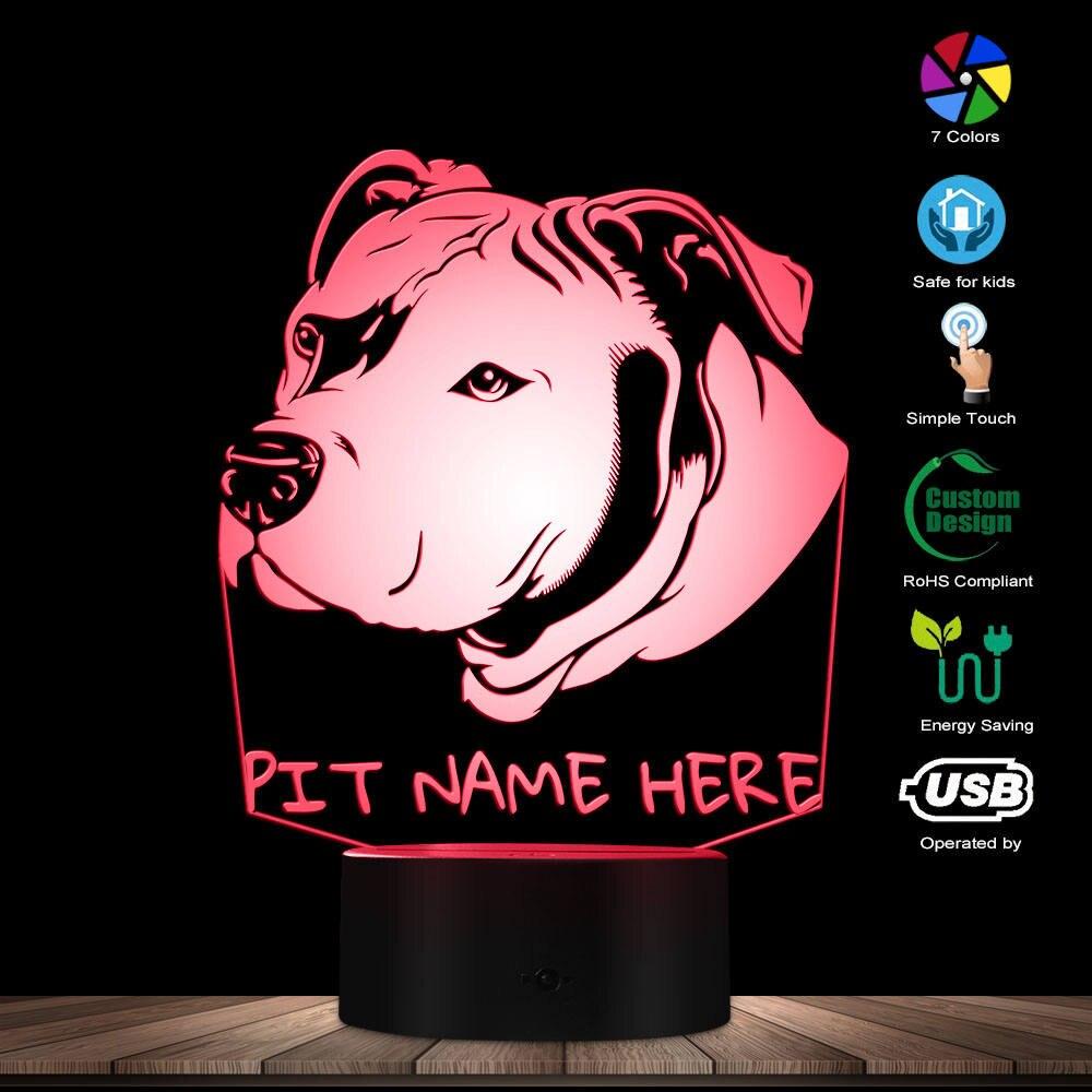 Nach Pitbull 3D LED Nacht Licht Pit Bull Kopf Porträt 3D Optische illusion LED Lampe mit Personalisierte Hund Name Pitties geschenk