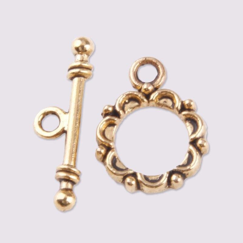 30 juegos de cierres de palanca de plata tibetana antigua de círculo de encaje para la fabricación de joyas, cierres para joyería de palanca para collar de pulsera