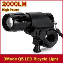 WasaFire vélo lumière 7W 2000lm 3 Mode Q5 LED vélo lumière avant torche étanche porte-torche cyclisme Frontlight lampes de pêche