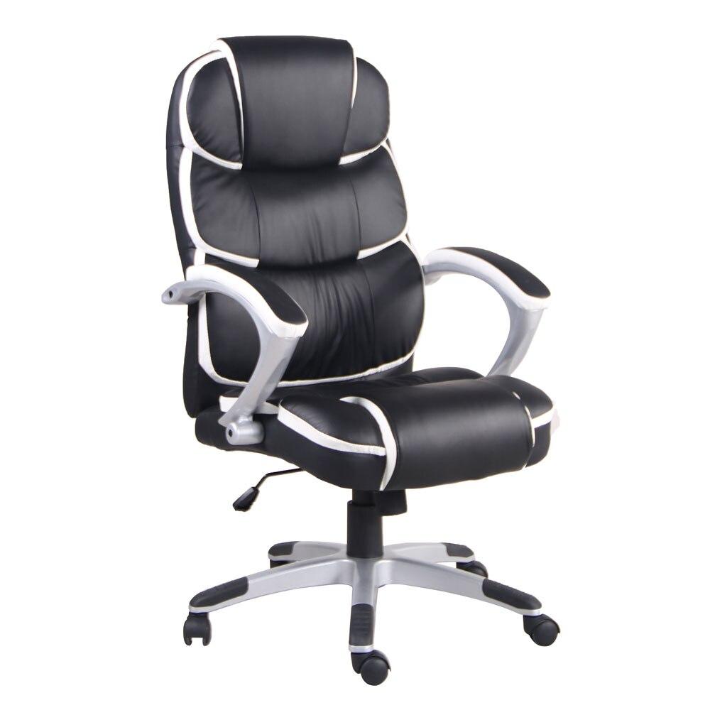 Черный стул из искусственной кожи с высокой спинкой поворотный стул|Офисные