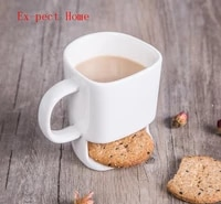 120pcslot 250ml ceramic mug white coffee tea biscuits milk dessert cup tea cup side cookie pockets holder for home office