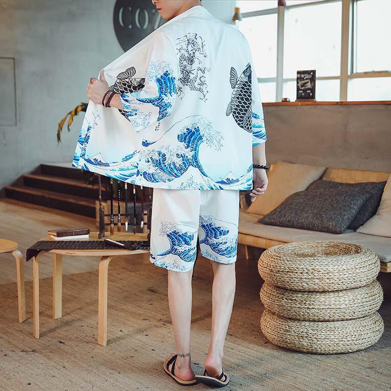 M-4XL 4 ألوان 3/4 كم كيمونو قميص قصير مجموعة للرجال عادية قطعتين الصيف اليابانية الشارع الشهير مطبوعة 2 Peice مجموعات XXXXL