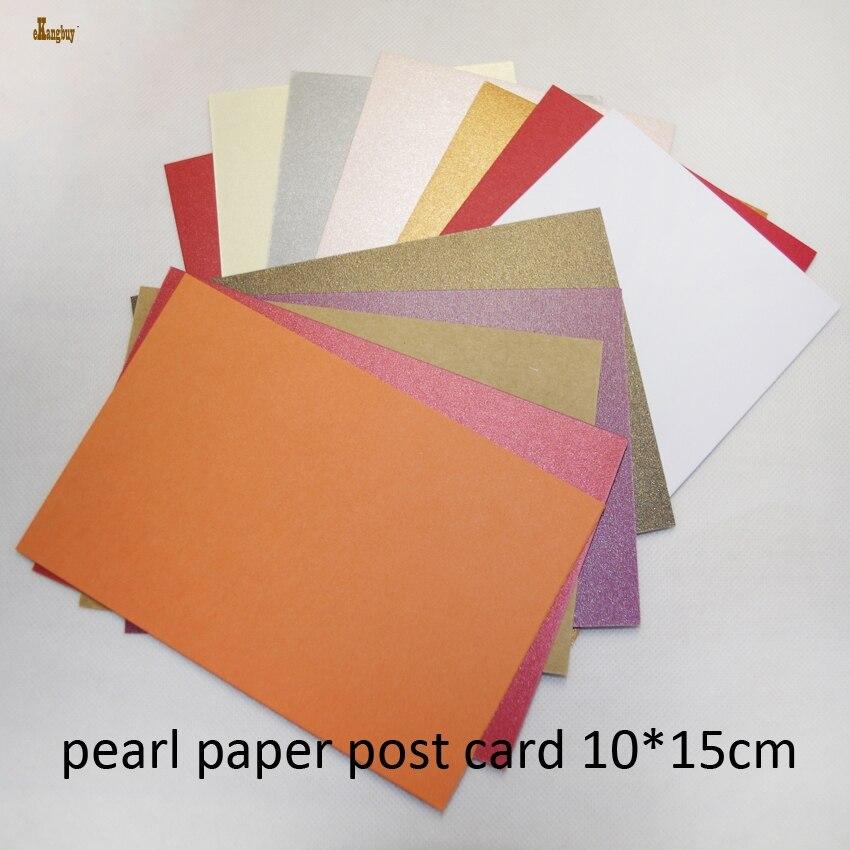 100 шт./лот бесплатная доставка A6 Размер 10x15 см микс 10 цветов жемчужная бумага 250gsm сделай сам свадебные приглашения открытка