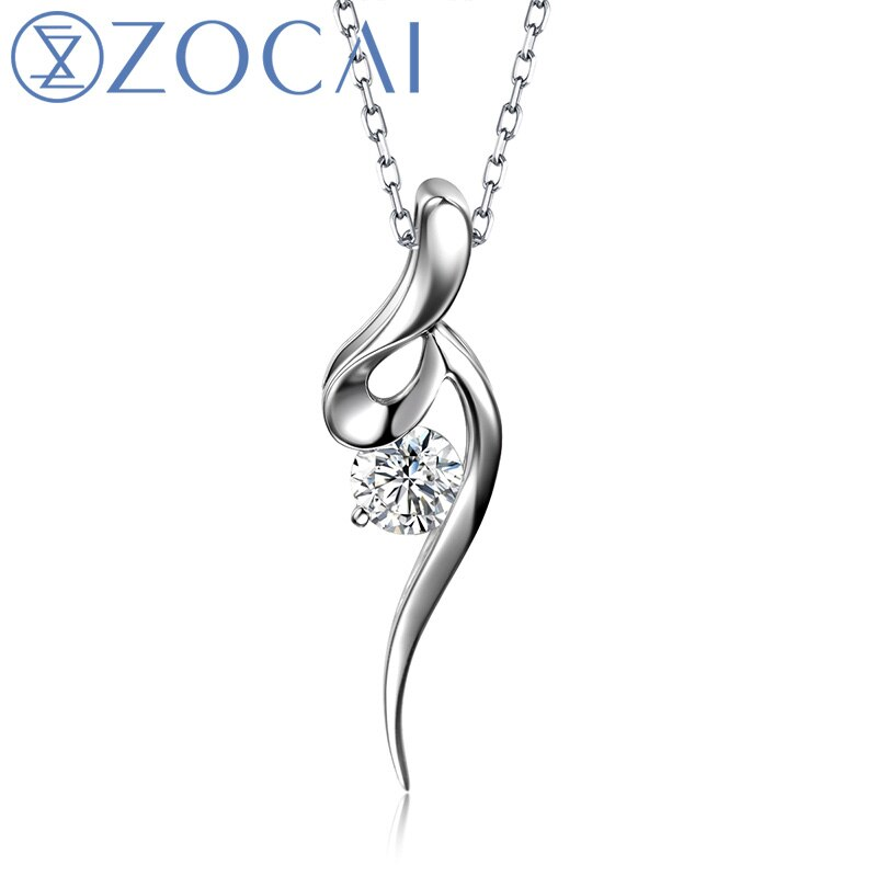 ZOCAI-عقد من الذهب الأبيض عيار 18 قيراطًا ، عقد بقلادة مرصعة بالألماس عيار 0.05 قيراط ، سلسلة فضية عيار 925 D00370