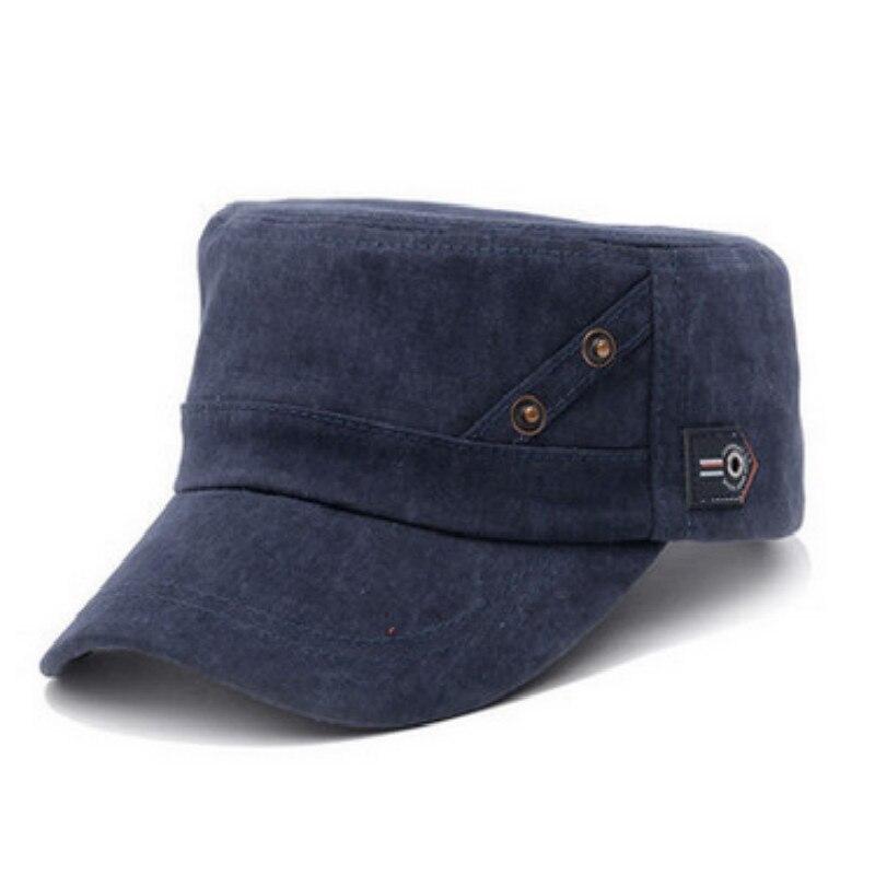 Clásico de los hombres y las mujeres gorra militar simple de alta calidad color sólido blanco sombrero plano corto ala plana ejército hueso gorras