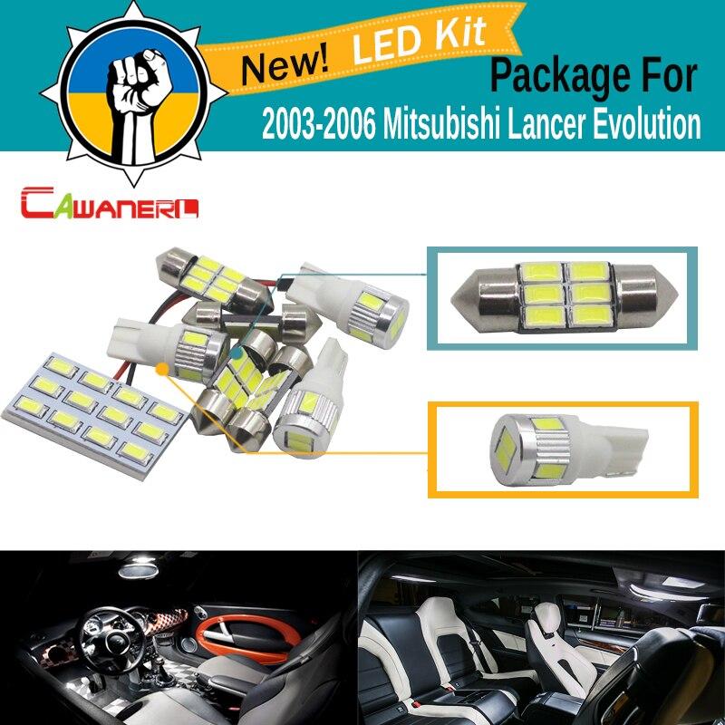 Cawanerl Car Interior Dome Map Trunk License Plate Lamp 5630 LED Bulb LED Kit White For Mitsubishi Lancer Evolution 2003-2006