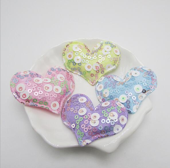 10pcs/lot & 20pcs/lot 5.5x4.5cm Sequin Heart Padded Appliques for Children headwear Accessories, DIY Garment Accessories patches