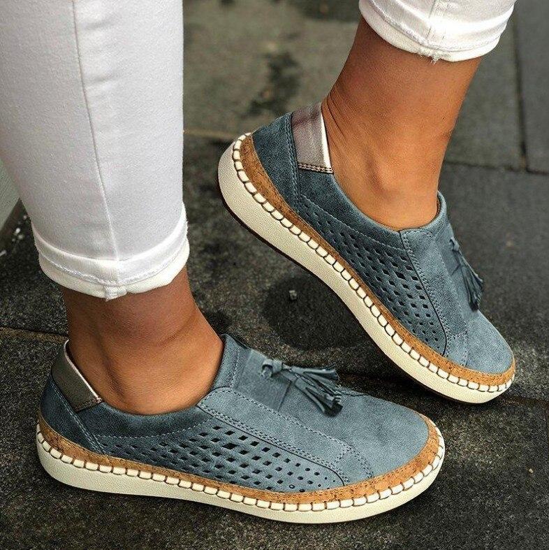 Zapatos planos De cuero cómodos para Mujer, Zapatos Oxford antiguos para Mujer, zapatillas deslizantes, Tenis femeninos, Zapatos De Mujer 2020