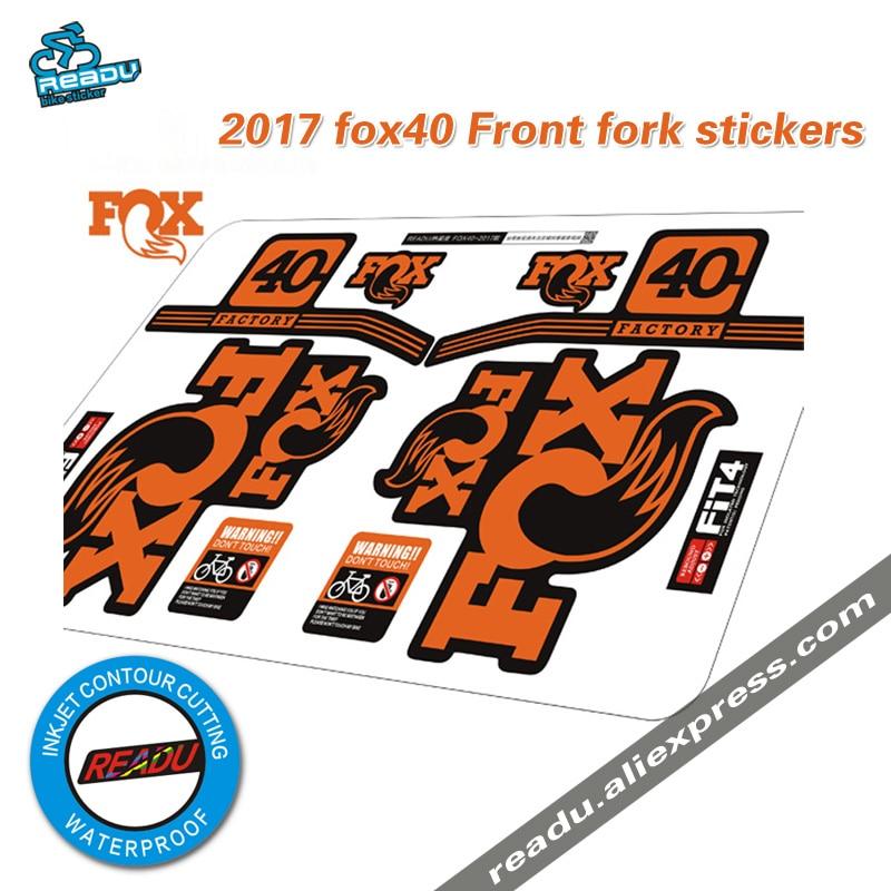 2017 fox factory 40 pegatinas de horquilla delanteras para bicicleta de montaña carrera ciclismo pegatinas de tierra fox40 calcomanías