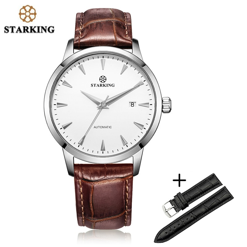 STARKING ساعة يد للرجال عالية يدق الحركة الميكانيكية ساعات أوتوماتيكية AM0184 الأسود حزام ليتر مجموعة الياقوت الكريستال على مدار الساعة
