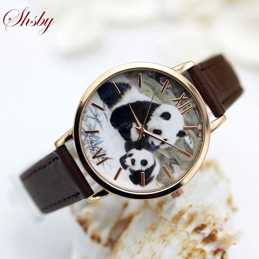 Shsby Брендовые женские наручные часы с кожаным ремешком, модные повседневные кварцевые часы с павлином, пандой, Кроликом, женские наручные ча...