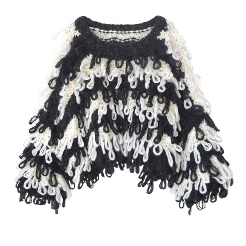 Poncho New Jumper Pullovers Special Offer Pullover Feminino 2019 Sweater Woman Handmade Crochet Tassel Stripes Loose enlarge