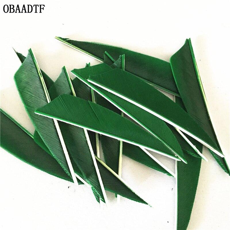 50 шт. 3-дюймовая стрела с лопастями, перьевой лук и стрела, зеленая фотоуглеродная стрела, стрелы, уличные аксессуары для стрельбы