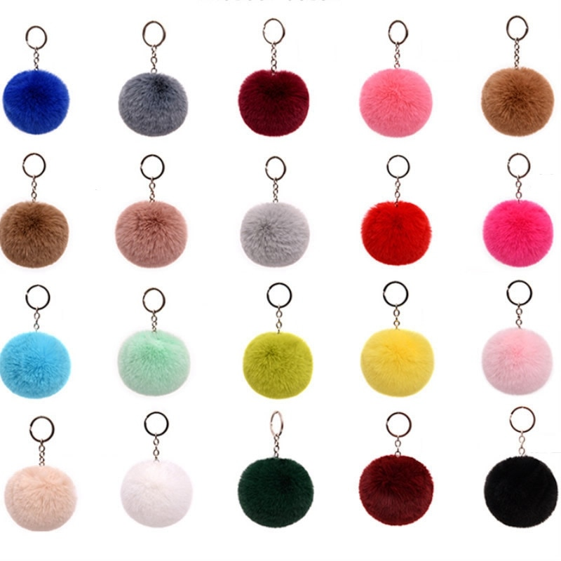 8CM 13 Colors Fluffy Rabbit Fur Ball Key Chain Bangtan Pompom Artificial Rabbit Fur Keychain Women Car Bag Key Ring Porte Clef