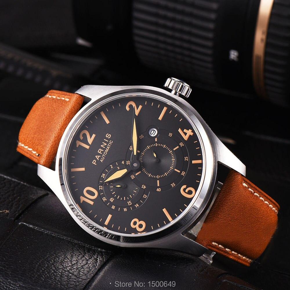 Parnis Miyota 8219, mecánico automático, 44mm, reloj de pulsera para hombres, 24 horas, pequeño segundo