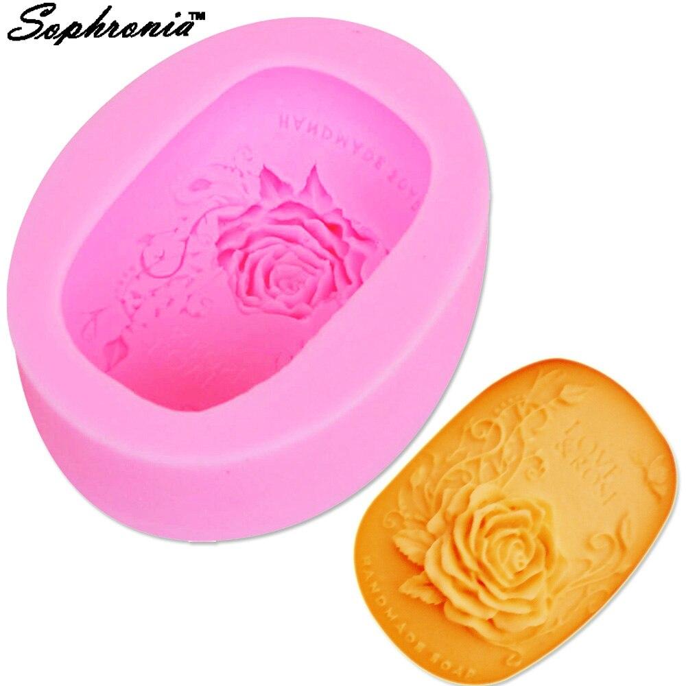 Molde de jabón de rosas hecho a mano Sophronia, molde de flores ovaladas para jabón DIY, moldes de silicona para jabón S011, 9,5x7,5x2,9 cm