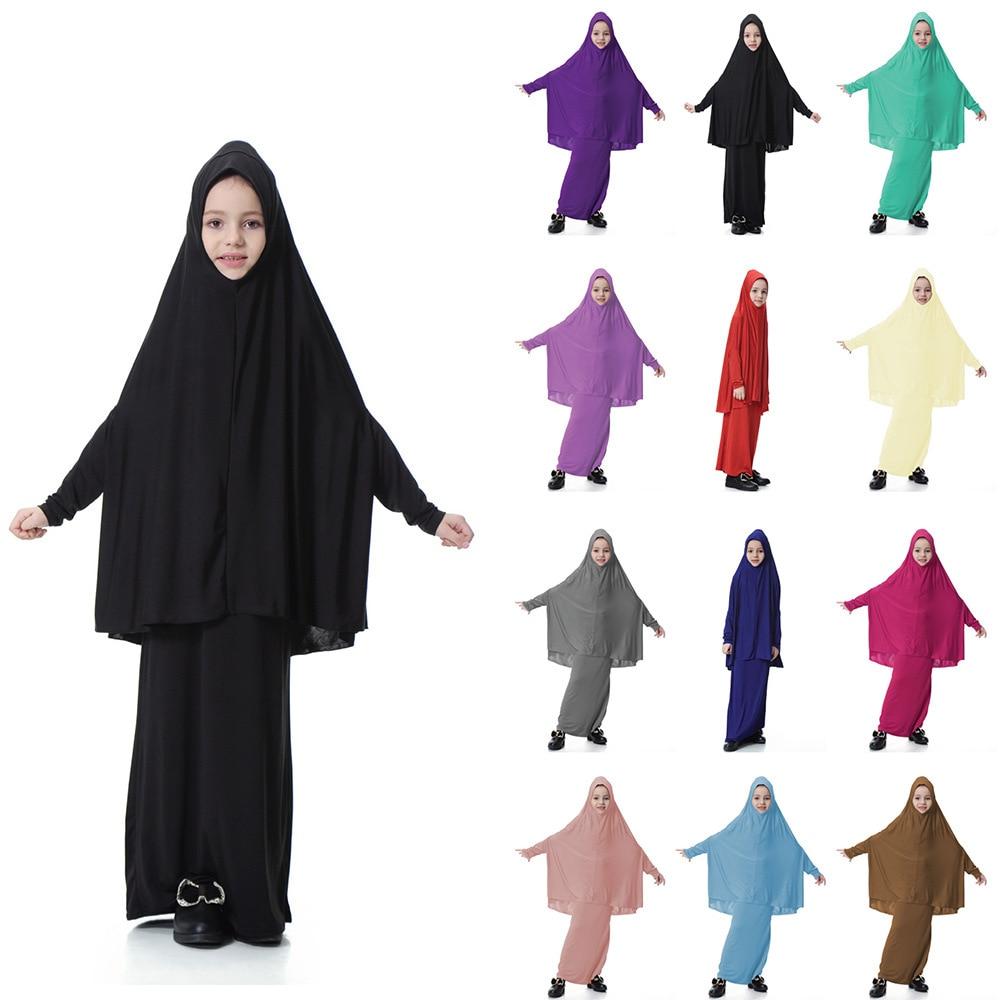 Tampas Hijab muçulmano Crianças Meninas + Saia 2 Pcs Set Vestido Maxi abaya Roupa Islâmica Oração Muçulmana Saudita de Vestuário Completo cobertura CN-061