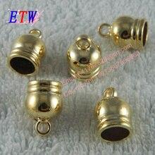 Envío Gratis moda extremo del cable de metal DIY chapado tope de oro 50 unids/lote anillo campana tamaño medio para venta al por mayor y al por menor